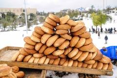 Vassoio con i bagel Fotografia Stock Libera da Diritti