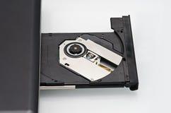 Vassoio del disco del computer portatile aperto Fotografia Stock