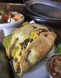 Vassoio del taco con salsa & le verdure Fotografie Stock
