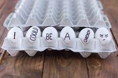Vassoio dell'uovo del cartone con le uova del pollo Concetto sociale A favore della vita Fotografia Stock