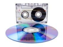 Vassoio della cassetta audio e compact disc digitale Immagini Stock Libere da Diritti