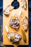 Vassoio di legno con la terrina della carne fredda sul alatoobi finlandese del pane tostato Fotografie Stock Libere da Diritti