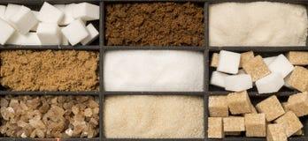 Vassoio di tipi assortiti dello zucchero Fotografia Stock Libera da Diritti