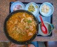 Vassoio giapponese della cena sul vassoio fotografia stock libera da diritti