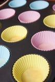 Vassoio muffin/del bigné Fotografie Stock Libere da Diritti