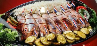 Vassoio o piatto dell'aringa Fotografie Stock