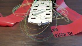 Vassoio ottico con nastro adesivo dell'allarme fotografie stock libere da diritti