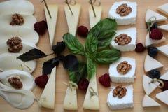 Vassoio saporito del formaggio Fotografie Stock