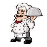 Vassoio sorridente dell'argento della tenuta del personaggio dei cartoni animati del cuoco unico illustrazione di stock