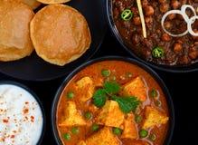 Vassoio vegetariano indiano del pranzo - piatto principale punjabi Fotografie Stock Libere da Diritti