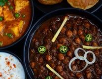 Vassoio vegetariano indiano - piatto principale a nord indiano Fotografia Stock
