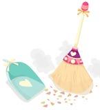 Vassoura com a colher para a poeira ilustração royalty free