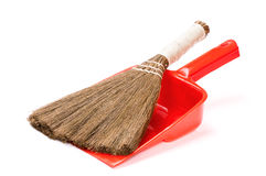 Vassoura e dustpan Imagens de Stock Royalty Free
