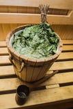 vassoura natural do banho em uma sauna fotografia de stock royalty free