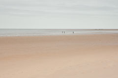 Holkham, Norfolk, UK: Vast empty beach and horizon under winter sky. Vast beach and horizon with grey sky Stock Photo