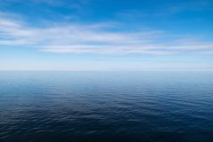 Vast blue sea. Empty seascape and horizon over water stock photography