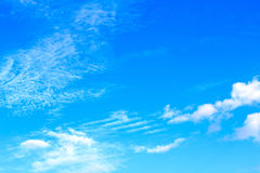 The vast blue sky clouds sky on sunny summer or spring day. Royalty Free Stock Photo