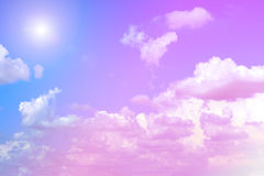 The vast blue sky and clouds sky with sunshine. Stock Photography