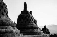 The Vast Complex of Borobudur in Black and White Stock Photo