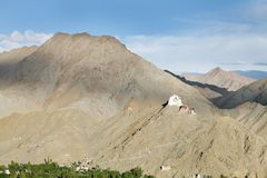 The vast mountain with Tsemo monastery, a view from other side of valley,  Leh Royalty Free Stock Photos