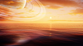 Vast Ocean With Ring Planet Stock Photo