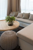vast of plants on wooden round table in modern living room desig Royalty Free Stock Photos