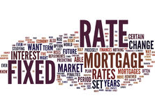 Vast Rate Mortgages Know Your Rate-Tekst Achtergrondword Wolkenconcept Royalty-vrije Stock Foto's