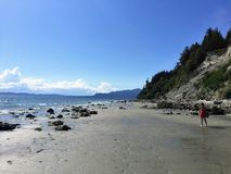 The vast, sandy beaches of Buccaneer Bay on a beautiful summer d. Ay on Thormanby Island, British Columbia, Canada stock photo