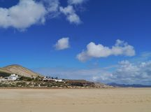 The vast sandy beaches of Fuerteventura at low tide Royalty Free Stock Image
