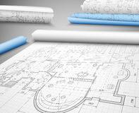 Vast scheme. Architectural project on paper. Eps 10 Stock Image
