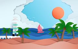 Vast sea views in the summer. And natural beauty. and there is a sailboat that was sailing on the sea. And as the origami or paper cut and used as stock illustration