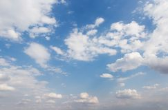 The vast sky and the white clouds float in the sky royalty free stock image