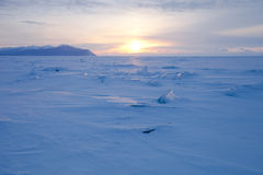 Vast snowy wilderness. Lake Baikal in winter Stock Photography