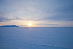 Vast snowy wilderness. Lake Baikal in winter Royalty Free Stock Photo