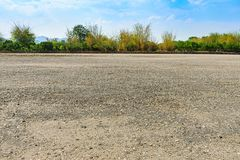 The vast soil courtyard. With blue sky royalty free stock photos