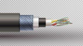 Vast voor als buffer opgetreden rector realistische illustratie van vezel optisch royalty-vrije illustratie