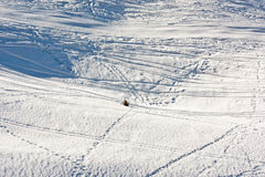 Vast winter landscape with tracks Stock Photography