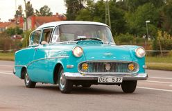 Opel Record 1958. Vasteras, Sweden - July 5, 2013: One blue Opel Record 1958 during cruising parade at the Power Big Meet event Royalty Free Stock Photography