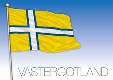 Vastergotland regional flag, Sweden, vector illustration stock photography