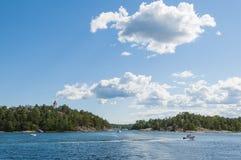 Vastervik archipelago. Sparo channel (Swedish: Spårösund) with the old beacon in Vastervik archipelago. Kalmar county, Sweden, Europe stock photography