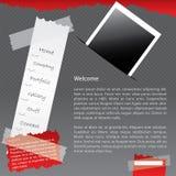 Vastgebonden website met foto vector illustratie