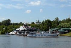 Vastgelegd bij het restaurant ?Vlotter ?het schip ?Akademik Vavilov ?in Yaroslavl royalty-vrije stock foto's