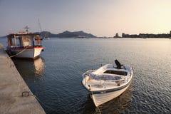 Vastgelegde boten in Methoni, Griekenland Stock Foto