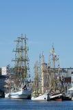 Vastgelegde lange schepen Stock Foto