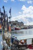 Vastgelegde vissersboten Hel Polen Stock Fotografie