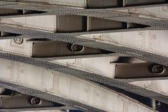 Vastgenageld metaal van brug, weefselachtergrond royalty-vrije stock fotografie