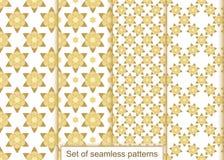Vastgesteld abstract gouden bloemen naadloos patroon Royalty-vrije Stock Fotografie