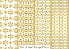 Vastgesteld abstract gouden bloemen naadloos patroon Vectorpatroon voor D Stock Foto