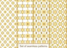 Vastgesteld abstract gouden bloemen naadloos patroon Vectorpatroon voor D Stock Afbeelding