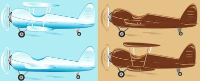 Vastgesteld beeldverhaal retro vliegtuig Royalty-vrije Stock Foto